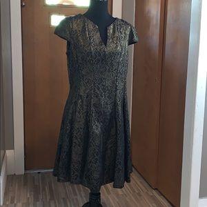 Julia Jordan gold and black lace fit & flare dress
